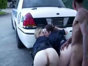 Two big ass MILF officers fuck black guy on the street