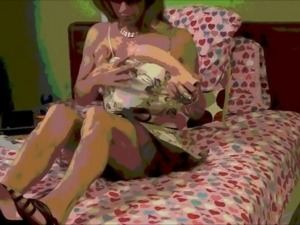 take Sissy crossdresser on a 10-inch model nice !!!