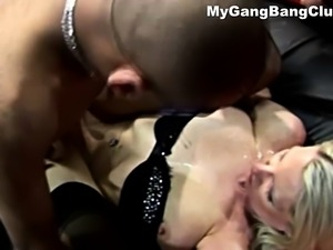 Hardcore interracial gang bang