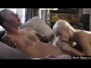 Petite stepdaughter banged after a fellatio